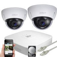 Dahua 5MP IP PoE camerabewakingssysteem FULL HD 2 camera's.